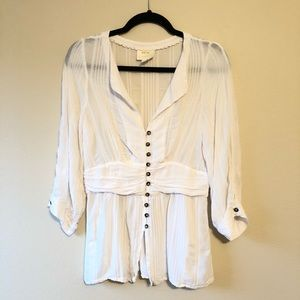 ANTHRO Maeve Button Front White Blouse—8